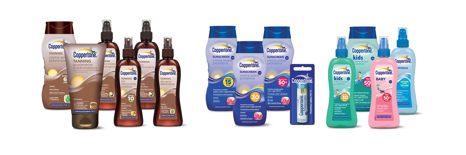 Coppertone la linea dei prodotti