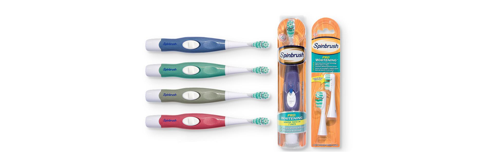SPINBRUSH™: la linea di spazzolini a batteria.